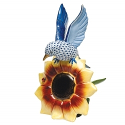 Herend Bluebird on Sunflower