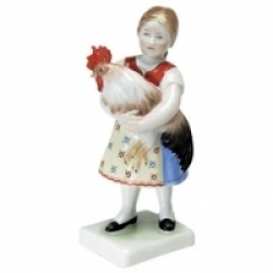 Herend Girl w/Rooster