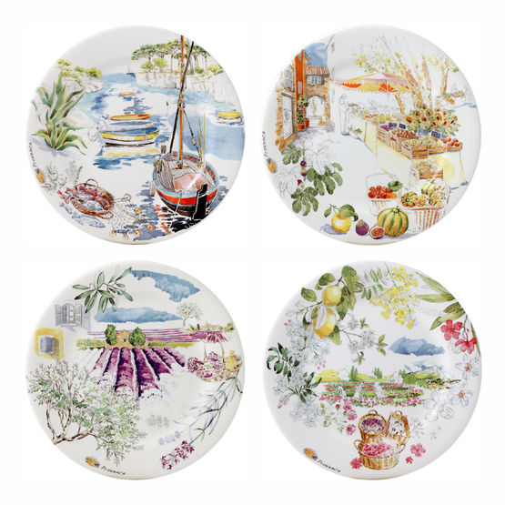 Provence Dessert Plates Set / 4 - Assorted  sc 1 st  FX Dougherty & Gien Provence Set of 4 Dessert Plates Assorted