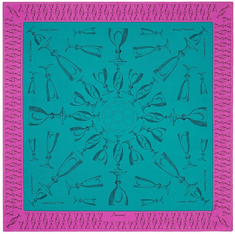 282aec5cc9d4 Baccarat Harcourt Silk Twill Scarf - Emerald Green & Fuschia Pink