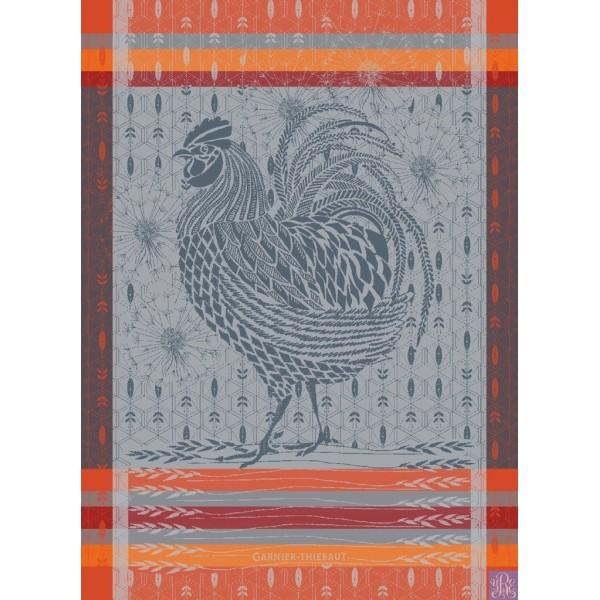 Garnier Thiebaut Coq Design Orange Kitchen Towel Set 4