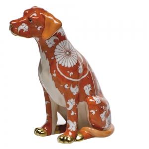 Herend Chrysantheme Orange Seated Dog