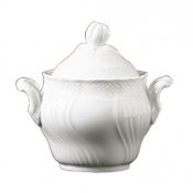 Vecchio Ginori White Coffee Sugar Bowl w/Cover 10 oz.