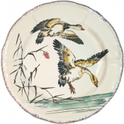 Grands Oiseaux Dessert Plate - Two Geese  (Oies Cendrees)