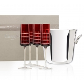 Christofle Red Crystal Champagne Gift Set