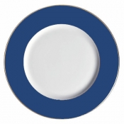 Chargers Charger Plate Blue W/Gold Rim