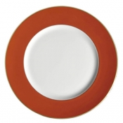 Chargers Charger Plate  Orange W/Gold Rim