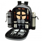 Picnic at Ascot Black Houndstooth Two Person Coffee Backpack