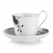 Black Fluted Mega High Handle Cup & Saucer