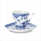 Blue Fluted Full Lace Cup & Saucer - 5 oz.