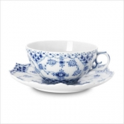 Blue Fluted Full Lace Cup & Saucer - 7.5 oz.