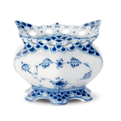 Blue Fluted  Full Lace Covered Sugar Bowl