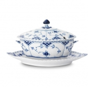 Blue Fluted Full Lace Sauce Boat With Cover