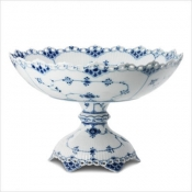 Blue Fluted Full Lace Bowl on Foot