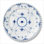 Blue Fluted Full Lace Dinner Plate - 10.75""
