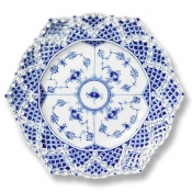 Blue Fluted Full Lace Cake Plate - 8.25""