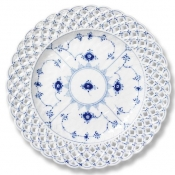 Blue Fluted Full Lace Open Border Cake Plate - 9.75