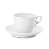 White Half Lace Large Coffee Cup & Saucer - 5.75 Oz. /Special Order