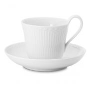 White Fluted Half Lace High Handle Cup & Saucer - 8.5 oz.