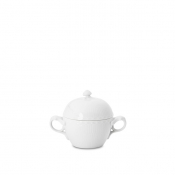 White Half Lace Covered Sugar Bowl with Handles