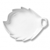 White Fluted Half Lace Leaf Shaped Dish - 9""
