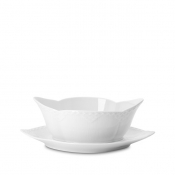 White Half Lace Sauce Boat on Fixed Stand