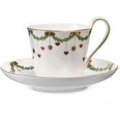 Star Fluted Christmas High Handled Cup & Saucer - 8.5 oz.