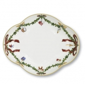 Star Fluted Christmas Oblong Accent Dish -8.5""