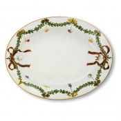 Star Fluted Christmas Oval Christmas Platter - 14.25""