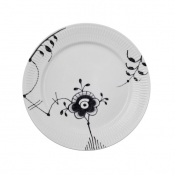 Black Fluted Mega Lunch/Dessert Plate No 6 - 8.75""