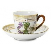 Flora Danica Demitasse / Mocha Cup and Saucer with Branch Handle