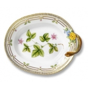Flora Danica Large Oval Accent Dish with Handle