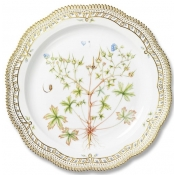 Flora Danica Large Round Platter w/ Perforated Border - 14.25""