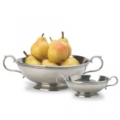 Match Pewter Low Footed Bowl w/Handles - Small
