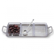 Match Pewter Crudite Tray w/Handles & Glass Inserts