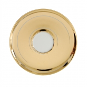 Combi Saucer*, White with Gold Lines