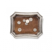Match Pewter Pocket Change Tray W/Leather Insert