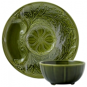 Gien Hostess Chip & Dip Set - Wilow Green