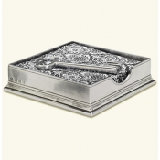 Match Pewter Cocktail Napkin Box W/Feather Weight