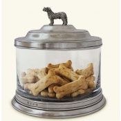Match Pewter Glass Cookie Jar w/ Dog Finial
