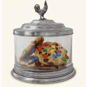 Match Pewter Glass Cookie Jar w/Rooster Finial