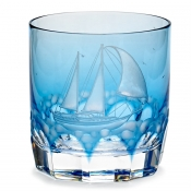 Varga Crystal Full Sail Double Old Fashion Glass / Sky Blue - Pattern 2