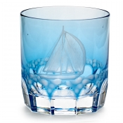 Varga Crystal Full Sail Double Old Fashion Glass / Sky Blue - Pattern 3