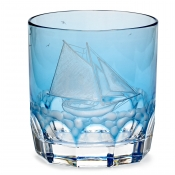 Varga Crystal Full Sail Double Old Fashion Glass / Sky Blue - Pattern 5
