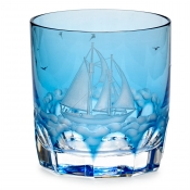Varga Crystal Full Sail Double Old Fashion Glass / Sky Blue - Pattern 6