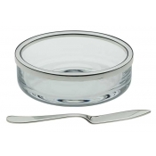 Cercle Butter Dish w / Rim & Spreader