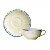 Filets Bleu Set of 2 Breakfast Cups and Saucer