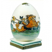 Gien Chevaux Marins Egg on Stand