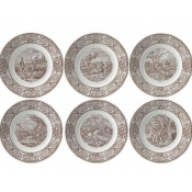 Gien Chasse Dessert Plates /  Assorted Set 6