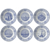 Gien Paris Monuments Dessert Plates Assorted Set / 6